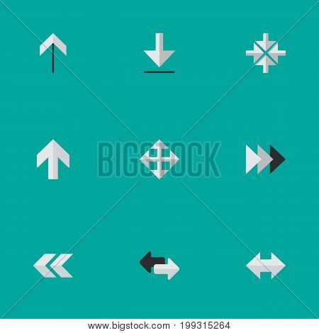 Elements Onward, Upwards, Import And Other Synonyms Rearward, Widen And Inside.  Vector Illustration Set Of Simple Cursor Icons.
