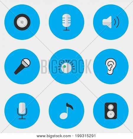 Elements Loudness, Regulator, Note And Other Synonyms Loudspeaker, Make And Control.  Vector Illustration Set Of Simple Melody Icons.