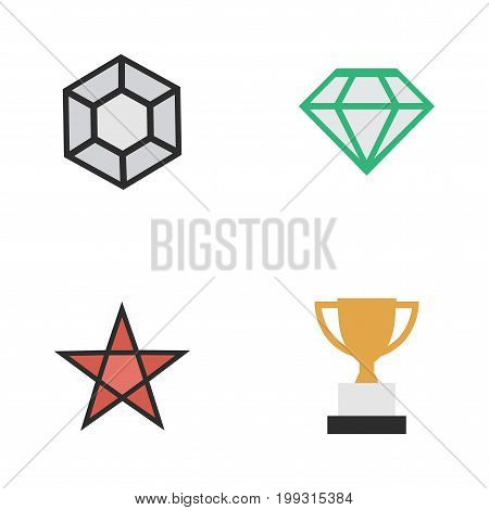 Elements Goblet, First, Gemstone And Other Synonyms Stone, Precious And Trophy.  Vector Illustration Set Of Simple Trophy Icons.