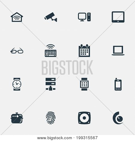 Elements Loudspeaker, Surveillance, Electric Stove And Other Synonyms Eyeglasses, Stove And Keypad.  Vector Illustration Set Of Simple Web Icons.