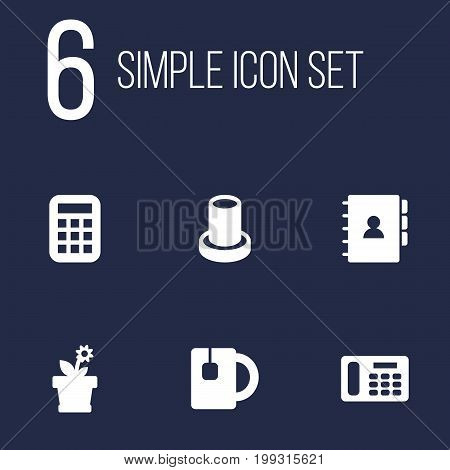 Collection Of Cup, Flower, Book And Other Elements.  Set Of 6 Workspace Icons Set.