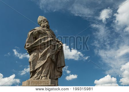 Medieval statue of a bishop on the old Main bridge Wuerzburg Bavaria Germany