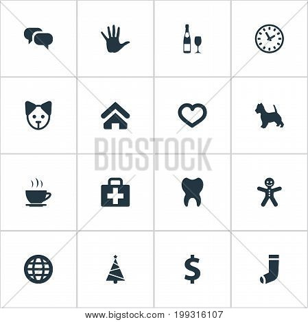 Elements Hand, Money, Hosiery Synonyms Ginger, Puppy And Message.  Vector Illustration Set Of Simple Household Icons.