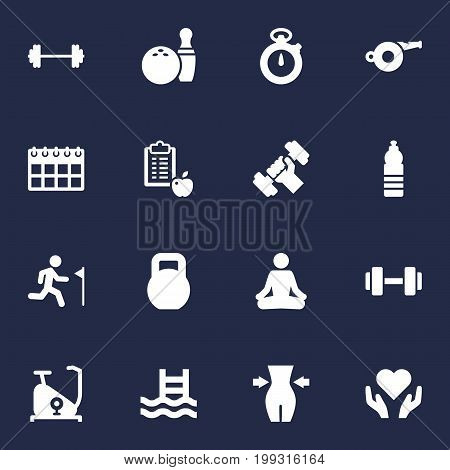Collection Of Drink, Heart In Hand, Kegling Elements.  Set Of 16 Fitness Icons Set.