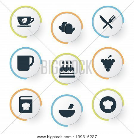 Elements Silverware, Pastry, Recipes And Other Synonyms Culinary, Menu And Handle.  Vector Illustration Set Of Simple Cuisine Icons.