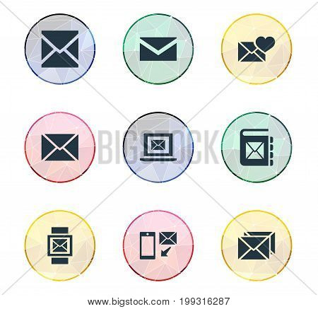 Elements Notepad, Correspondence, Mail With Heart And Other Synonyms Laptop, Valentine And Correspondence.  Vector Illustration Set Of Simple Mail Icons.