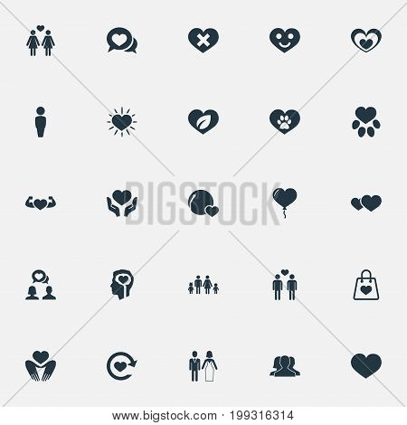 Elements Wounded, Turntable, Strong And Other Synonyms Beloveds, Together And Circle.  Vector Illustration Set Of Simple Feelings Icons.