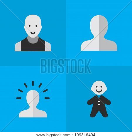 Elements Contour, Man, Guy And Other Synonyms Male, Guy And Man.  Vector Illustration Set Of Simple Profile Icons.