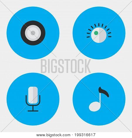 Elements Loudspeaker, Note, Record And Other Synonyms Record, Sign And Sound.  Vector Illustration Set Of Simple  Icons.