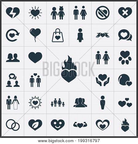 Elements Refresh, Decoration, Smiling Love And Other Synonyms Wounded, Staff And Mother.  Vector Illustration Set Of Simple Feelings Icons.