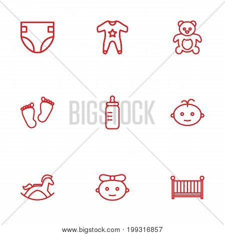 Collection Of Footprints, Boy, Teddy And Other Elements.  Set Of 9 Kid Outline Icons Set.