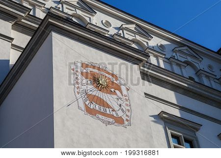 Sundial on Palace of the Grand Dukes of Lithuania in Vilnius, Lithuania
