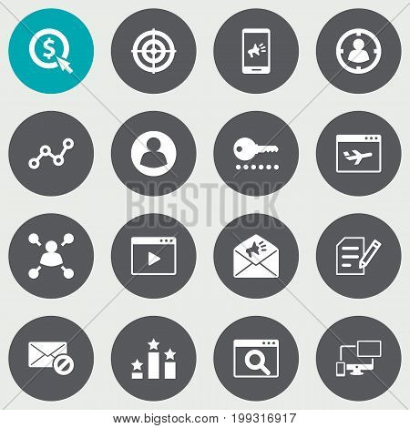 Collection Of Responsive, Columns, Dartboard And Other Elements.  Set Of 16 Optimization Icons Set.