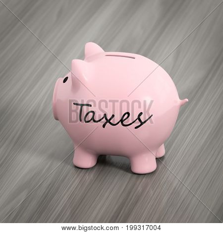 3d rendering of a pink piggy bank with the word taxes
