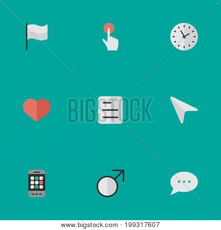 Elements Pointer, Smartphone, Document And Other Synonyms Red, Message And Soul.  Vector Illustration Set Of Simple Menu Icons.