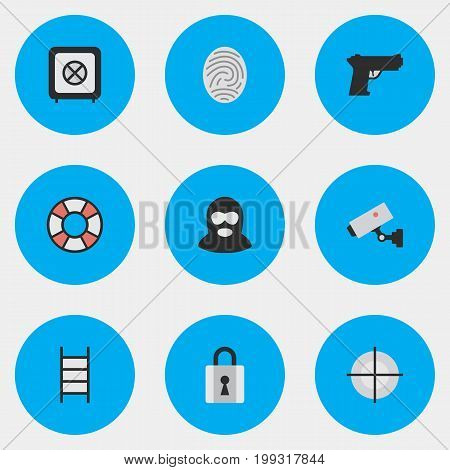 Elements Sniper, Lifesaver, Weapon And Other Synonyms Closed, Camera And Criminal.  Vector Illustration Set Of Simple Criminal Icons.