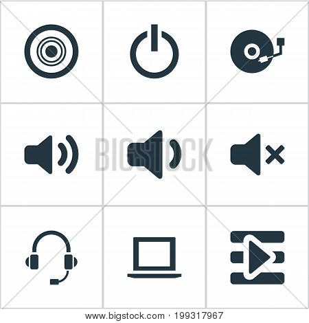 Elements New Album, Web Player, Voice And Other Synonyms Disk, Headset And Playlist.  Vector Illustration Set Of Simple Play Icons.