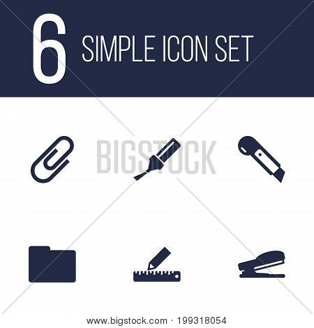 Collection Of Puncher, Knife, Pencil And Other Elements.  Set Of 6 Tools Icons Set.