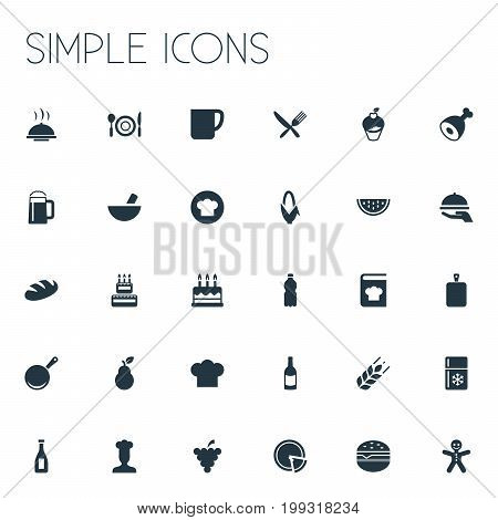 Elements Christmas Cookies, Hot Dish, Loaf And Other Synonyms Beer, Grape And Bakery.  Vector Illustration Set Of Simple Food Icons.