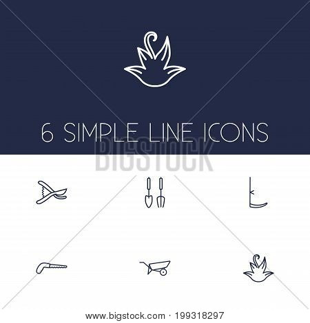 Collection Of Herb, Secateurs, Barrow And Other Elements.  Set Of 6 Horticulture Outline Icons Set.