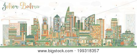 Johor Bahru Malaysia Skyline with Color Buildings. Business Travel and Tourism Illustration with Modern Architecture. Image for Presentation Banner Placard and Web Site.