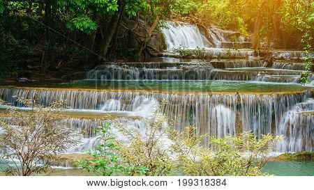 Close up viewpoint tier 4 at Huay Mae Khamin Waterfalls is located in Khuean Srinagarindra National Park north of Kanchanaburi The seven-tiered waterfalls Thailand