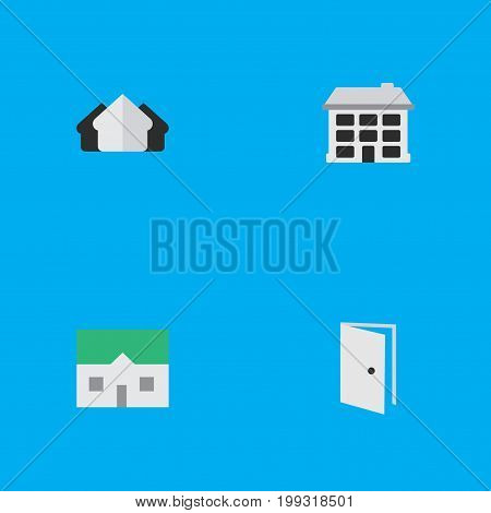 Elements House, Entry, Property And Other Synonyms House, Open And Entry.  Vector Illustration Set Of Simple Real Icons.