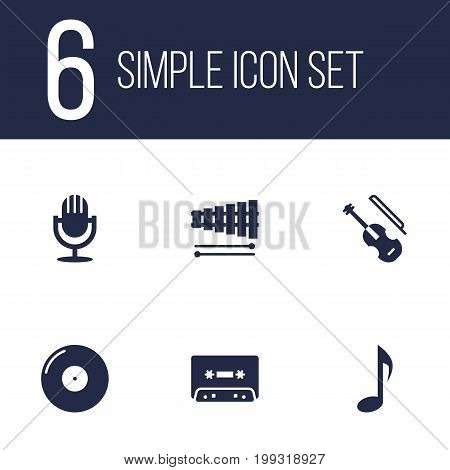 Collection Of Fiddle, Percussion, Tone Symbol And Other Elements.  Set Of 6 Song Icons Set.