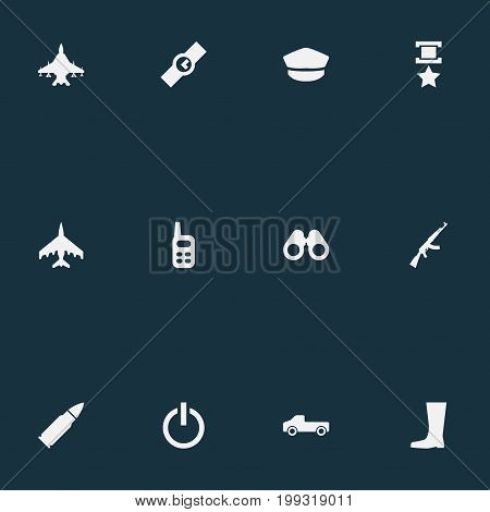 Elements Pursuit Plane, Clock, Sky Force And Other Synonyms Boots, Radio And Wristwatch.  Vector Illustration Set Of Simple Battle Icons.