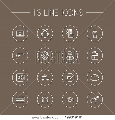 Collection Of Protection, Lock, Keypad And Other Elements.  Set Of 16 Security Outline Icons Set.