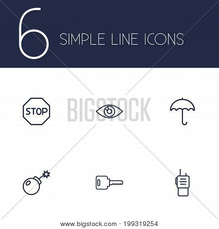 Collection Of No Entry, Vision, Open And Other Elements.  Set Of 6 Procuring Outline Icons Set.