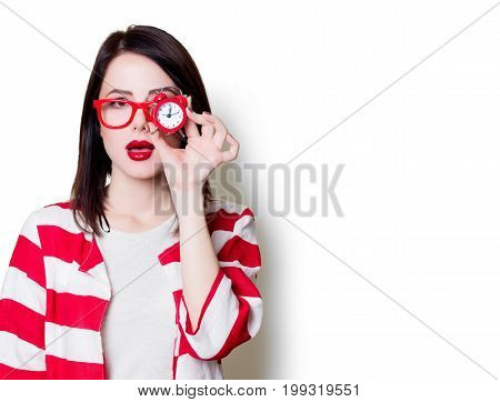 Woman In Glasses With Retro Alarm Clock
