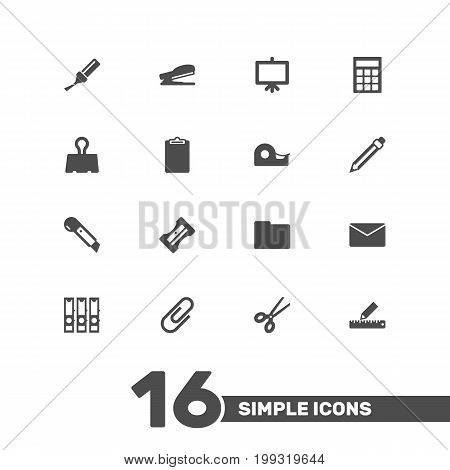 Collection Of Puncher, Calculate, Clippers And Other Elements.  Set Of 16 Tools Icons Set.