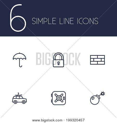 Collection Of Parasol, Safe, Firewall And Other Elements.  Set Of 6 Security Outline Icons Set.