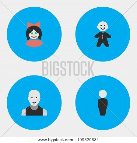 Elements Girl, Guy, Person And Other Synonyms Profile, Woman And Person.  Vector Illustration Set Of Simple Person Icons.