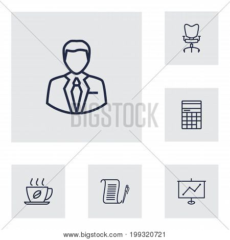 Collection Of Workplace, Agreement, Administrator And Other Elements.  Set Of 6 Cabinet Outline Icons Set.