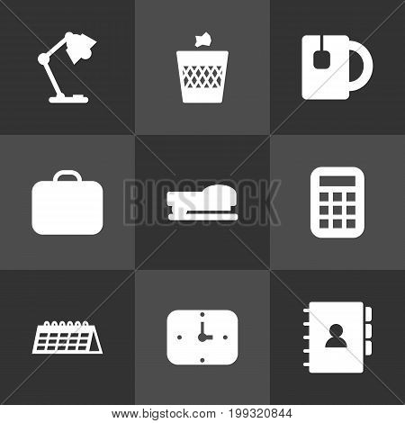 Collection Of Book, Date, Time And Other Elements.  Set Of 9 Workspace Icons Set.
