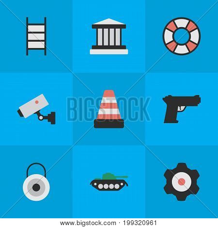 Elements Cogwheel, Grille, Supervision And Other Synonyms Gear, Stairs And Weapon.  Vector Illustration Set Of Simple Criminal Icons.