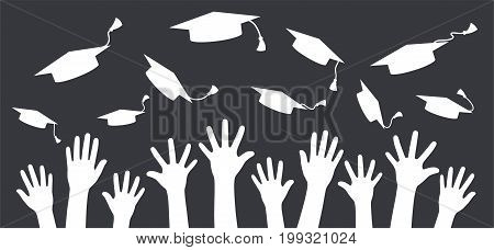 Hands of graduates throwing graduation hats in the air. Concept of education. Concept of college and university graduates.