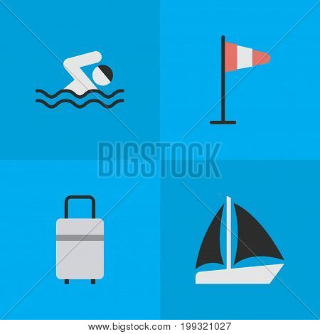 Elements Baggage, Flag, Schooner And Other Synonyms Sea, Schooner And Wind.  Vector Illustration Set Of Simple Holiday Icons.