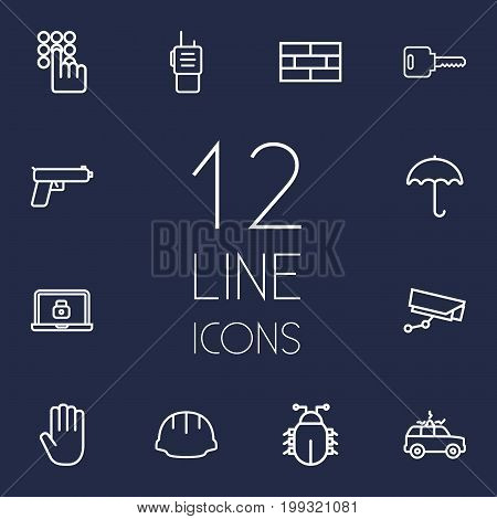 Collection Of Virus, Firewall, Open And Other Elements.  Set Of 12 Procuring Outline Icons Set.