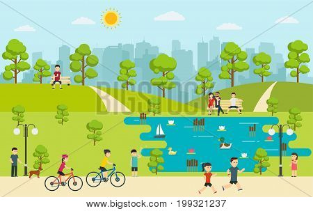 Public park with people relaxing in nature. Camping in park.