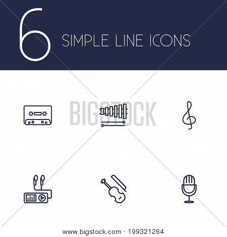 Collection Of Wooden Block, Record, Amplifier And Other Elements.  Set Of 6 Melody Outline Icons Set.