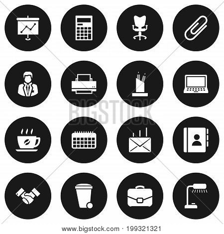 Collection Of Mail, Office Chair, Trash Can And Other Elements.  Set Of 16 Work Icons Set.