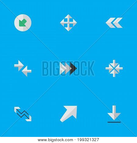 Elements Arrow, Loading, Northwestward And Other Synonyms Backward, Download And Enlarge.  Vector Illustration Set Of Simple Indicator Icons.