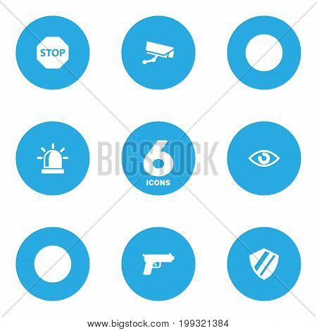 Collection Of Look, Protection, Alarm And Other Elements.  Set Of 6 Security Icons Set.