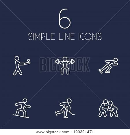 Collection Of Fight, Power-Lifting, Batting And Other Elements.  Set Of 6 Sport Outline Icons Set.