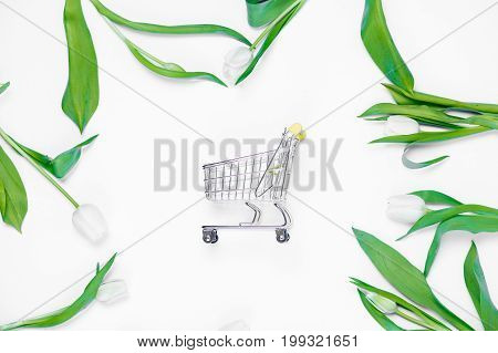 Cart And Tulips