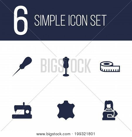 Collection Of Machine, Clothier, Mannequin And Other Elements.  Set Of 6 Stitch Icons Set.