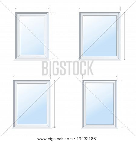 Vector illustration of rectangular plastic windows with outward arrows for sizes. The construction of windows is deaf